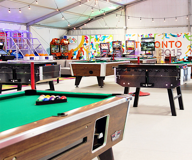 Games Room inside Athletes' Village at the Toronto 2015 Pan Am and Parapan Am Games supplied by Player One Amsuement Group
